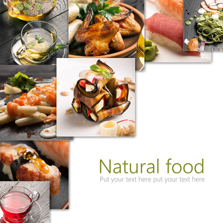 Collage from photos of different sorts of natural food