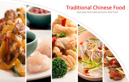 Traditional chinese food. Photo collage with chinese cuisine Zdjęcie Seryjne