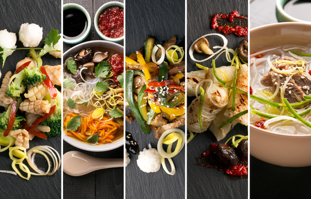 Traditional chinese food. Photo collage with chinese cuisine Archivio Fotografico