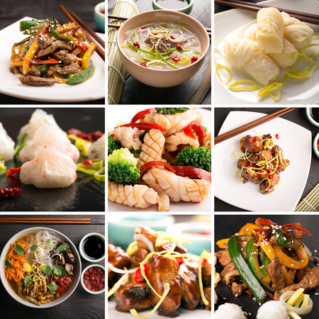 Traditional chinese food. Photo collage with chinese cuisine Stock Photo