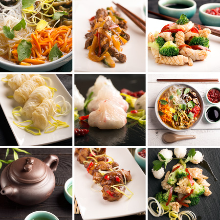 chinese cuisine: Traditional chinese food. Photo collage with chinese cuisine Stock Photo