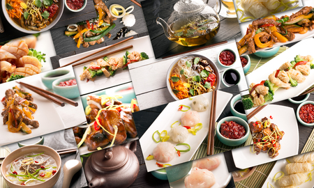 Traditional chinese food. Photo collage with chinese cuisine Stok Fotoğraf
