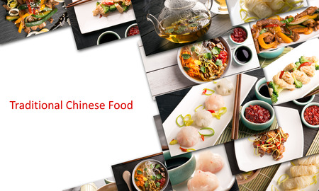 Traditional chinese food. Photo collage with chinese cuisine 스톡 콘텐츠