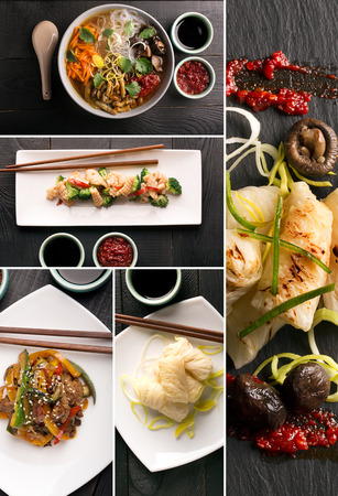food collage: Traditional chinese food. Photo collage with chinese cuisine Stock Photo