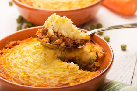 Shepherds pie with potato, meat and vegetables Stock Photo