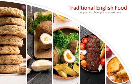 Traditional English food. Photo collage with English cuisine.
