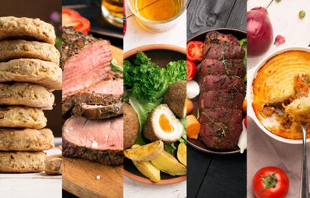 伝統的なイギリス料理。イギリス料理と写真のコラージュ。 写真素材