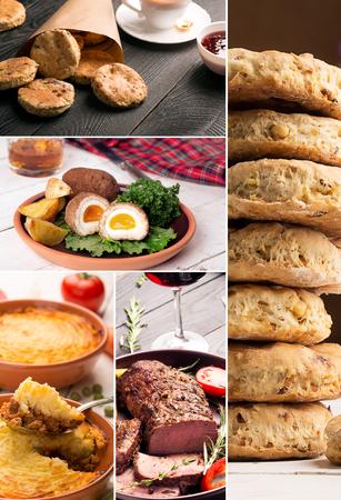 comida inglesa: La comida tradicional Inglés. Collage de la foto con cocina Inglés.