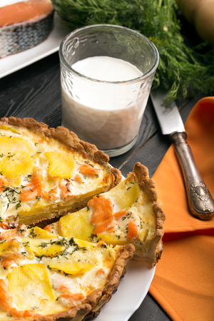 self starter: Traditional french quiche Lorraine with salmon and potato