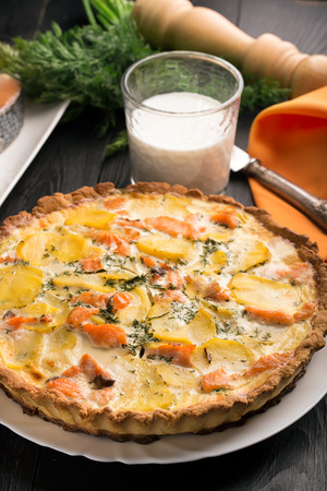 short crust pastry: Traditional french quiche Lorraine with salmon and potato