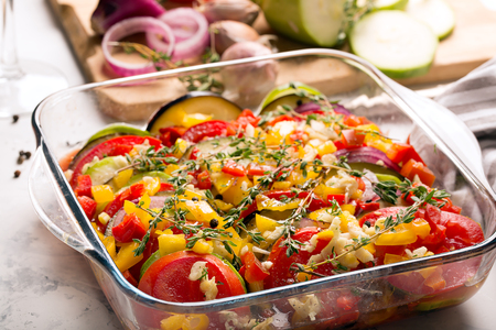 provencal: Traditional french ratatouille with vegetables and herbs