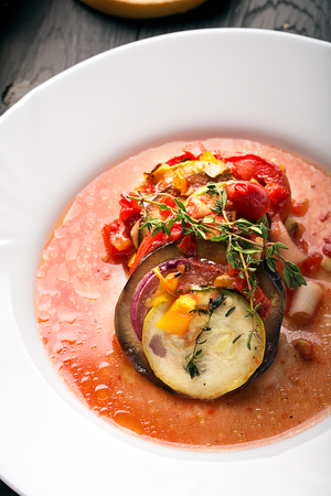 Traditional french ratatouille with vegetables and herbs