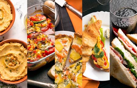 異なる欧州食品の写真からコラージュします。野菜と肉