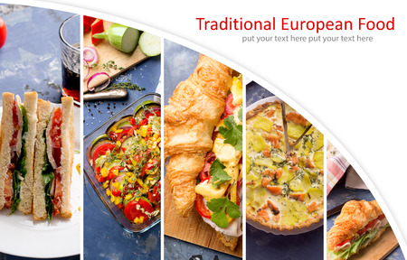 european food: Collage from photos of different european food. Vegetables and meat Stock Photo
