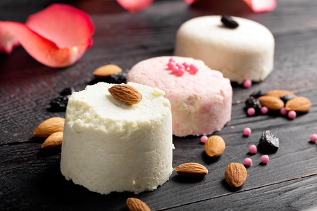 indian sweet: Traditional Indian sweet Sandesh  prepared with cottage cheese and sugar Stock Photo