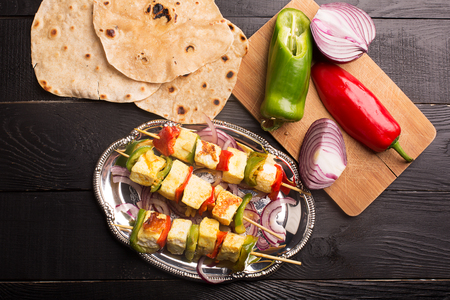 paneer: Indian paneer curd cheese fried with vegetables Stock Photo