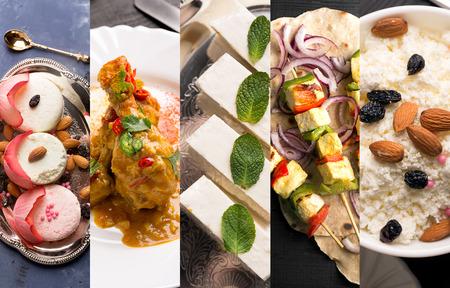 伝統的なインド料理。インドの料理の写真のコラージュ