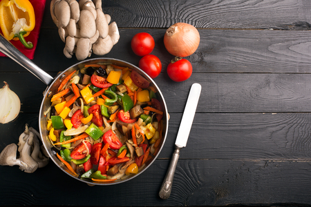 stir up: Vegetables stir fry with oyster mushrooms and sauce Stock Photo