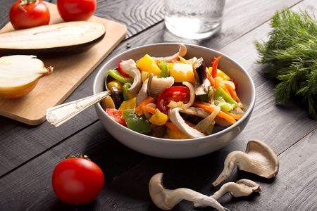 close up food: Vegetables stir fry with oyster mushrooms and sauce Stock Photo