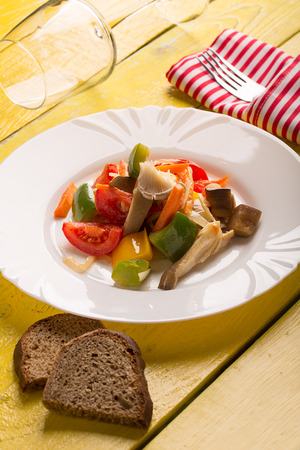 stir fry: Vegetables stir fry with oyster mushrooms and sauce Stock Photo