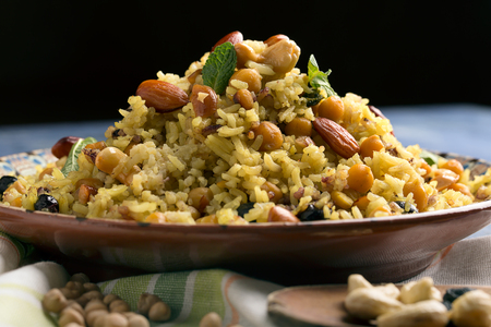 rice plate: Traditional Middle Eastern or Indian dish of rice (pilaf) cooked with spices Stock Photo