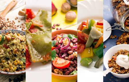 Natural food. Photo collage with vegetarian food