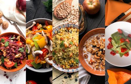 Natuurlijk voedsel. Foto collage van vegetarisch voedsel Stockfoto