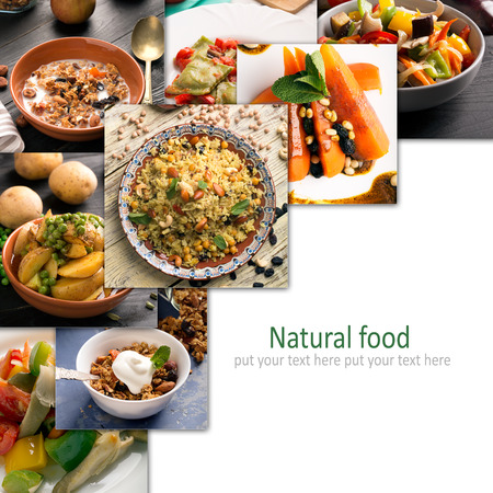 Natural food. Photo collage of vegetarian food Imagens