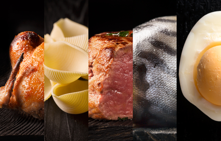 selective focus: Natural food. Photo collage. Dark background