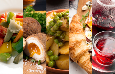 restaurant food: Cuisine of different countries. Western eand eastern dishes Stock Photo