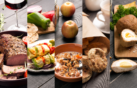 Cuisine of different countries. Western eand eastern dishes Stock Photo