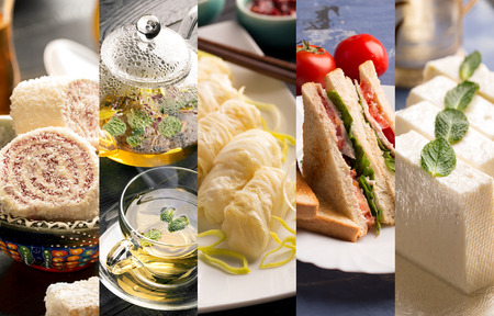 different countries: Cuisine of different countries. Western eand eastern dishes Stock Photo