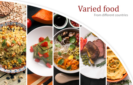 english west country: Cuisine of different countries. Western eand eastern dishes Stock Photo