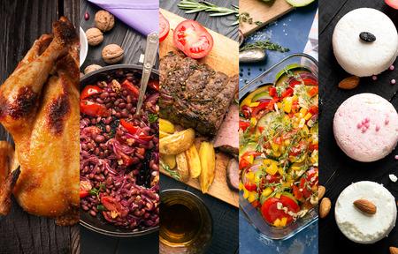 Gastronomía de diferentes países. platos orientales eand occidentales Foto de archivo