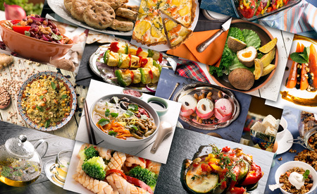 different countries: Different countries cuisine. Varied dishes prepared form meat or vegetables