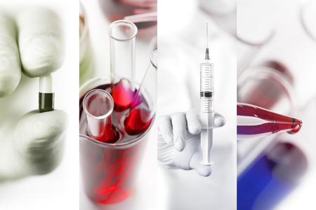 medical laboratory: Medical photo collage (laboratory tests and infection)