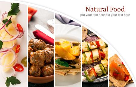 Comida natural. Collage de fotos. Verduras y carne