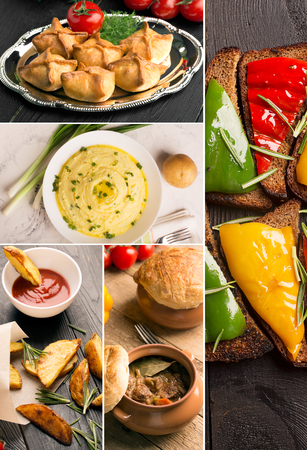 different countries: Natural food (photo collage). Cuisine from different countries Stock Photo