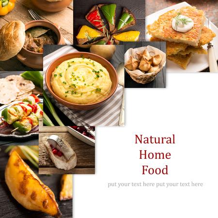自然食品 (フォト コラージュ)。さまざまな国の料理