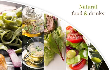 Collage de fotos de alimentos naturales (en colores verdes)
