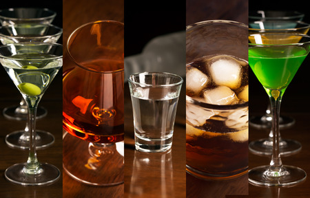 alcohol drinks: Collage of photos of different alcohol drinks (dark background)