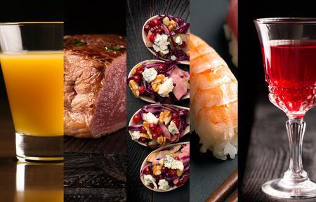 alimentos y bebidas: Collage de fotos de diferentes alimentos y bebidas (fondo oscuro)