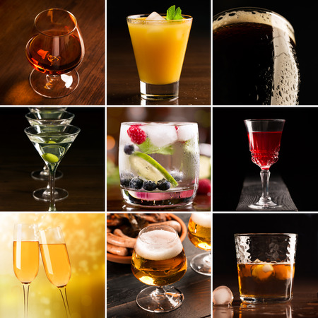 alcoholic beverages: A collage of pictures of alcoholic beverages (dark background)
