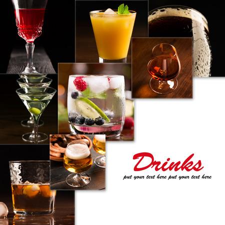 bebidas alcoh�licas: Un collage de im�genes de bebidas alcoh�licas (fondo oscuro)