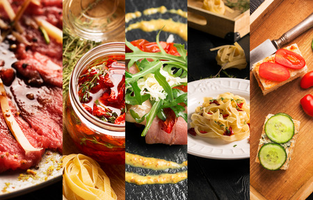 cuisines: Collage of photos of natural food (various cuisines) Stock Photo