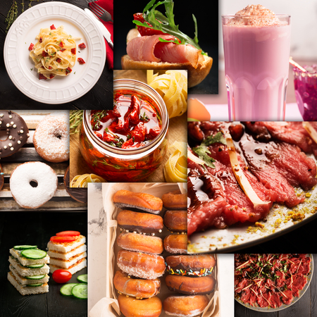 cuisines: Collage of photos of natural food and drink (various cuisines)