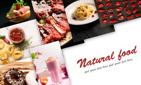 Comida natural. Collage de fotos. Estilo rústico, fondo oscuro y blanco