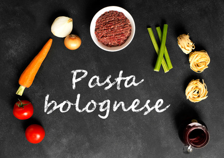 bolognese sauce: Ingredients of pasta with bolognese sauce. Recipe of italian spaghetti Stock Photo