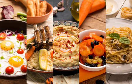 rustic food: Collage of photos of natural food (rustic style)