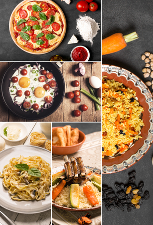 rustic food: Natural food. Photo collage. Rustic style and background Stock Photo